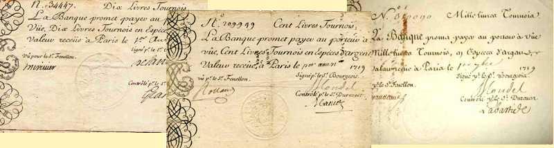 Billets du XVIIIème siècle - Les billets de la banque de Law