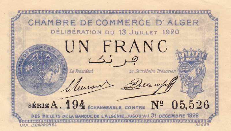 Billet de banque alg rie chambre de commerce alger for Chambre de commerce algerie
