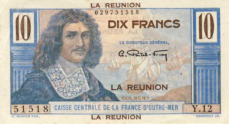 billet de banque la r union pick 42 10 francs. Black Bedroom Furniture Sets. Home Design Ideas